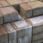 stack of brick with efflorescence